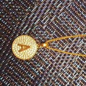 "Cute delicate ""A"" sparkly gold pendant and chain."